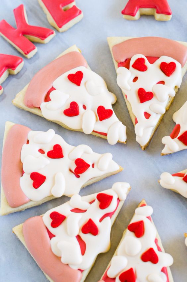 DIY Valentines Day Cookies - Heart Pizza Valentine Cookies - Easy Cookie Recipes and Recipe Ideas for Valentines Day - Cute DIY Decorated Cookies for Kids, Homemade Box Cookies and Bouquet Ideas - Sugar Cookie Icing Tutorials With Step by Step Instructions - Quick, Cheap Valentine Gift Ideas for Him and Her http://diyjoy.com/diy-valentines-day-cookie-recipes