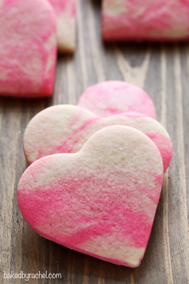 DIY Valentines Day Cookies - Marbled Valentine Sugar Cookies - Easy Cookie Recipes and Recipe Ideas for Valentines Day - Cute DIY Decorated Cookies for Kids, Homemade Box Cookies and Bouquet Ideas - Sugar Cookie Icing Tutorials With Step by Step Instructions - Quick, Cheap Valentine Gift Ideas for Him and Her http://diyjoy.com/diy-valentines-day-cookie-recipes