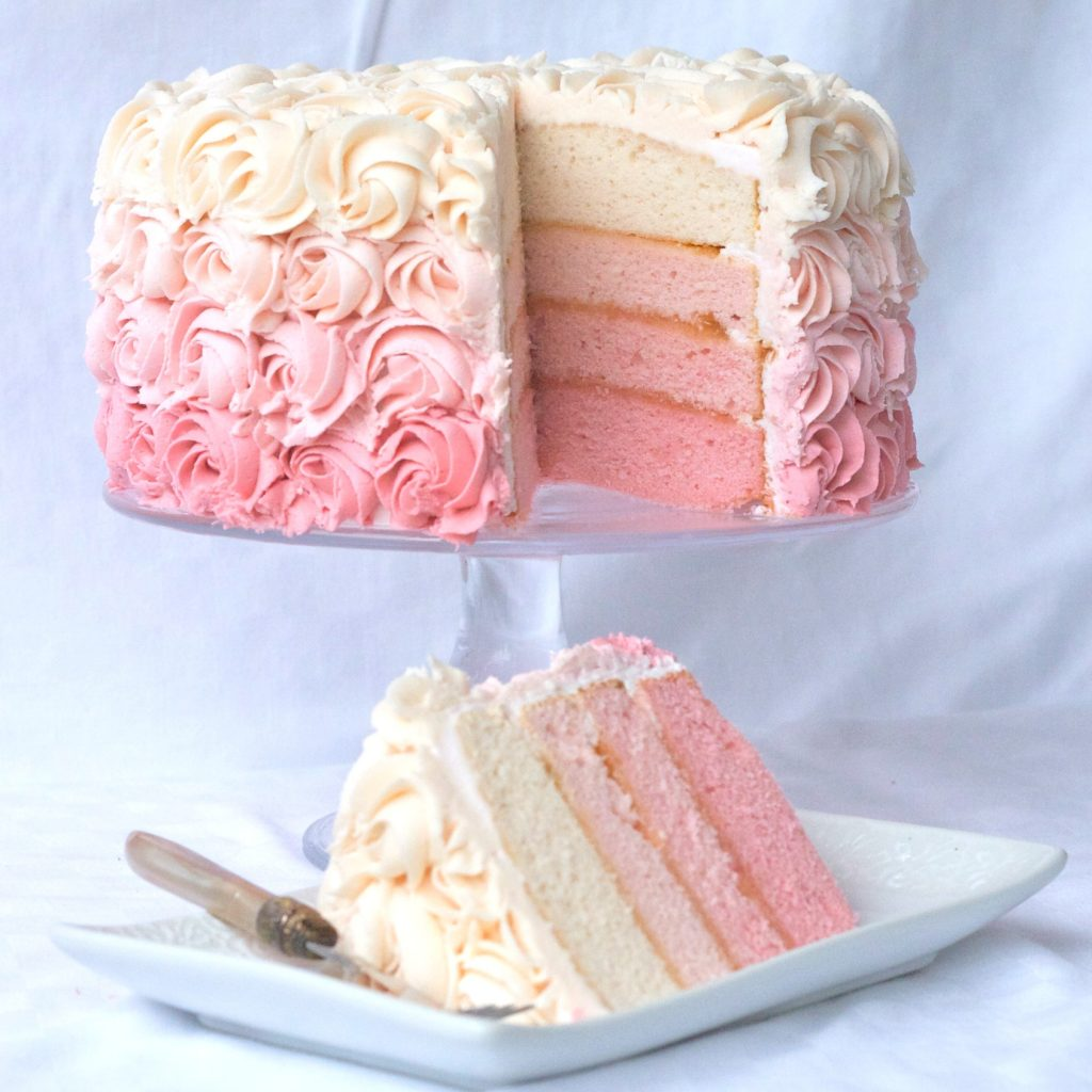 Pink Ombre Cake with Buttercream Frosting