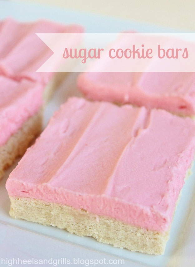 Sugar Cookie Bars | 10 Pretty In Pink Food Recipes | DIY Projects
