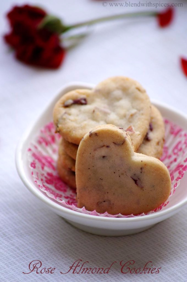 DIY Valentines Day Cookies - Rose Almond Cookies Recipe - Easy Cookie Recipes and Recipe Ideas for Valentines Day - Cute DIY Decorated Cookies for Kids, Homemade Box Cookies and Bouquet Ideas - Sugar Cookie Icing Tutorials With Step by Step Instructions - Quick, Cheap Valentine Gift Ideas for Him and Her http://diyjoy.com/diy-valentines-day-cookie-recipes