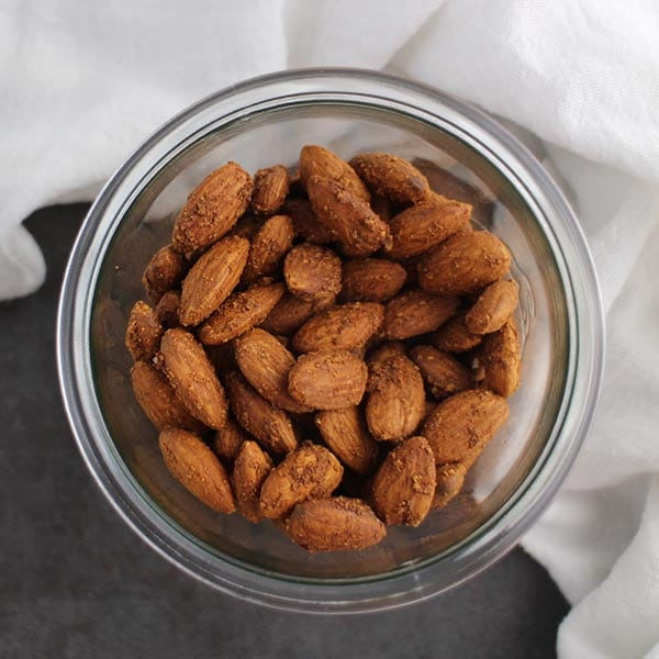 Garlicky Air Fryer Roasted Almonds come together so quickly in the air fryer! If you don