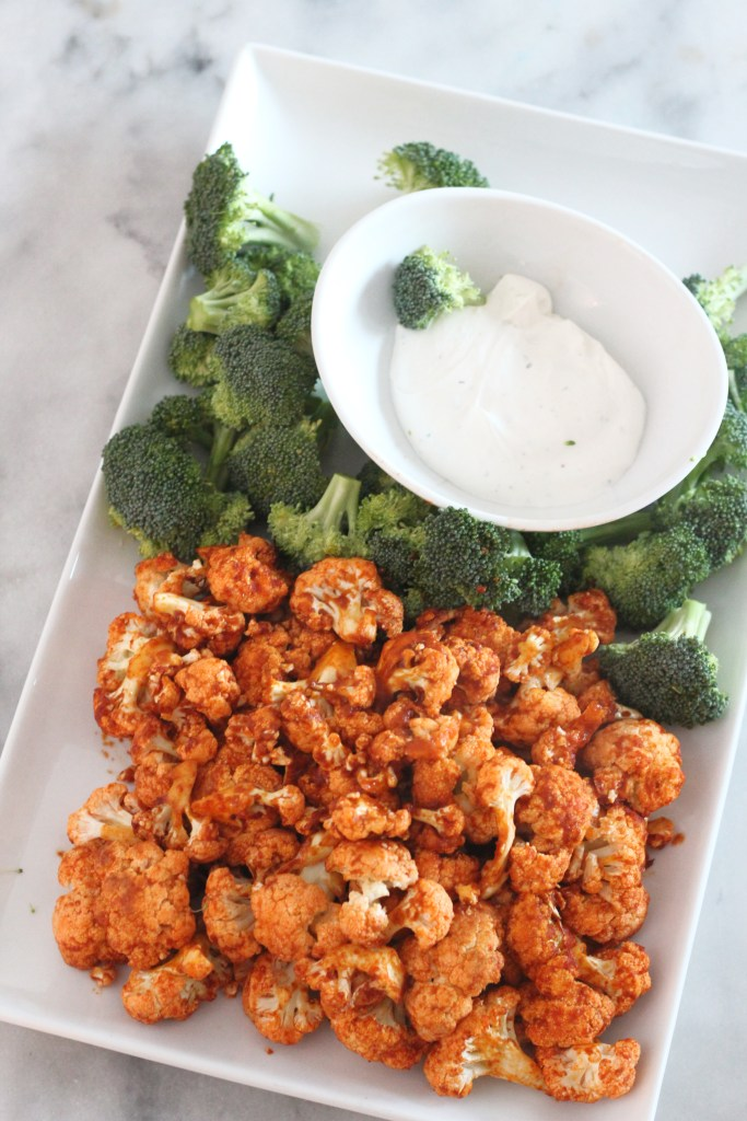 Air Fried Buffalo Cauliflower bites. Perfectly cooked, low carb and tasty. It