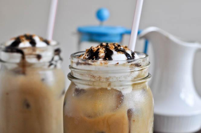 Homemade Mocha Coconut Iced Coffees I howsweeteats.com