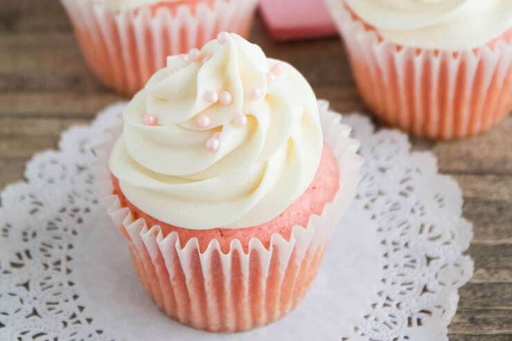 Pink Velvet Cupcakes - These velvety smooth one-bowl cupcakes are delicious and easy, too! Perfect for Valentine