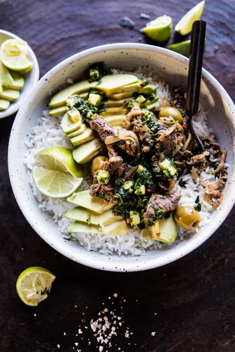 Cuban Style Steak And Avocado Rice With Pineapple Chimichurri