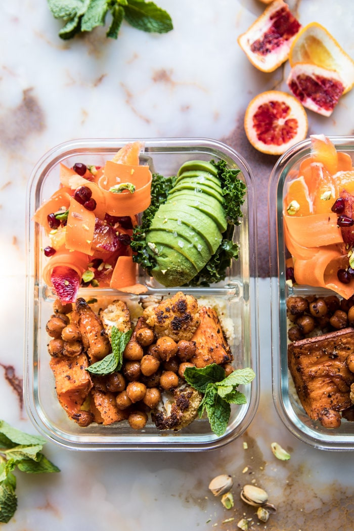 Meal Prep Moroccan Chickpea, Sweet Potato, And Cauliflower Bowls