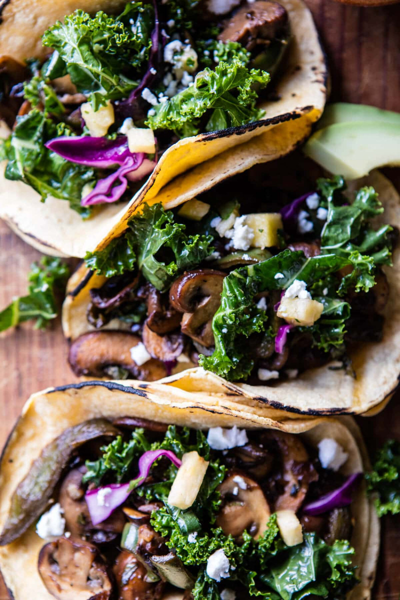 Poblano Mushroom Tacos With Cilantro Yogurt Sauce