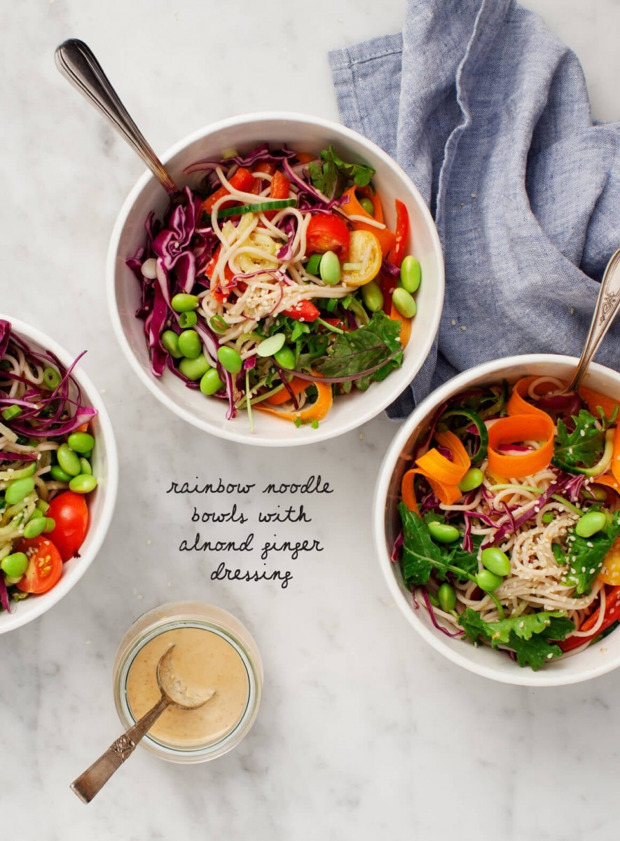 Rainbow Bowls with Almond-Ginger Dressing