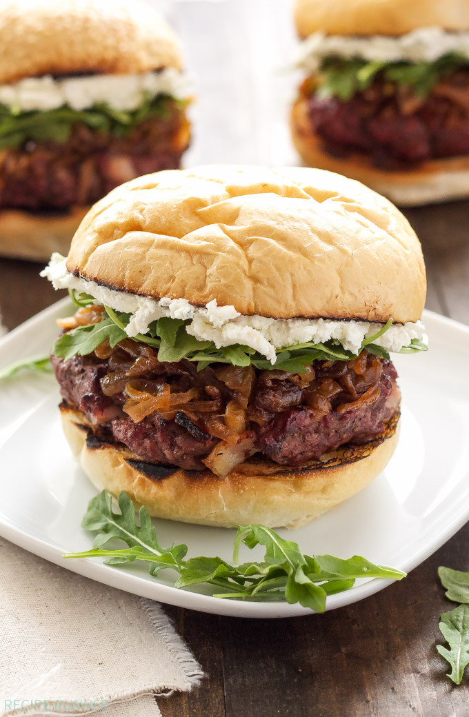 Bacon Burgers with Bourbon Caramelized Onions and Goat Cheese 1