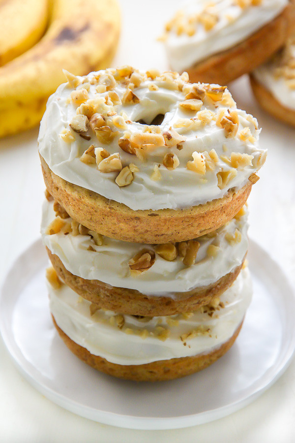 Banana Bread Donuts with Cream Cheese Frosting