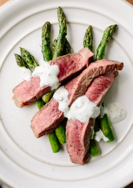 Broiled Steak & Asparagus with Feta Cream Sauce