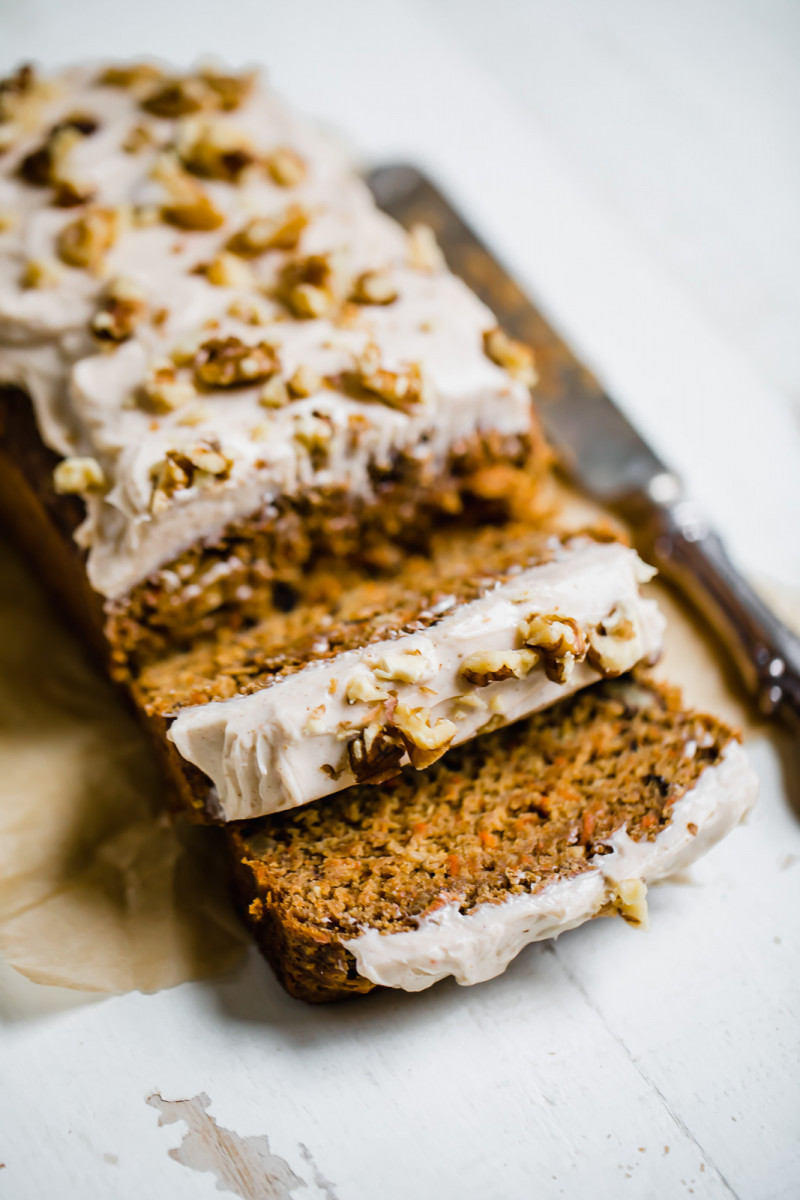 Carrot Cake Banana Bread with Thick Cinnamon Cream Cheese Frosting 1