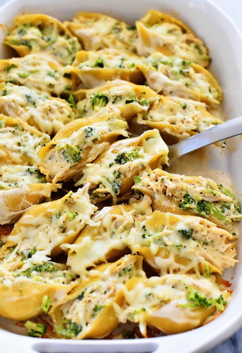 Chicken And Broccoli Alfredo Stuffed Shells 1