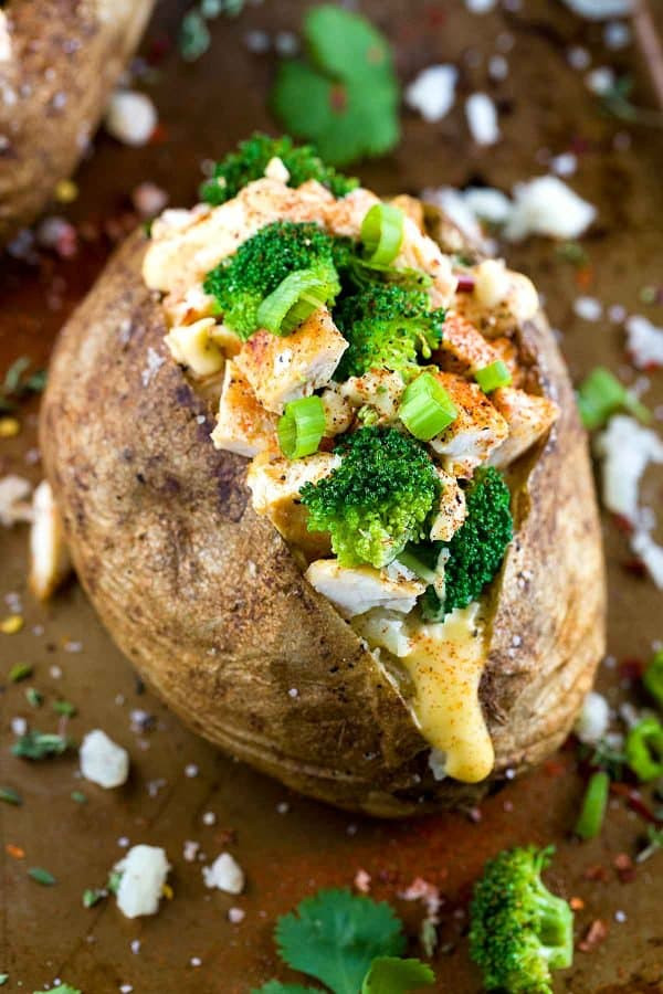 Chicken Broccoli Stuffed Baked Potato with Cheese Sauce 1