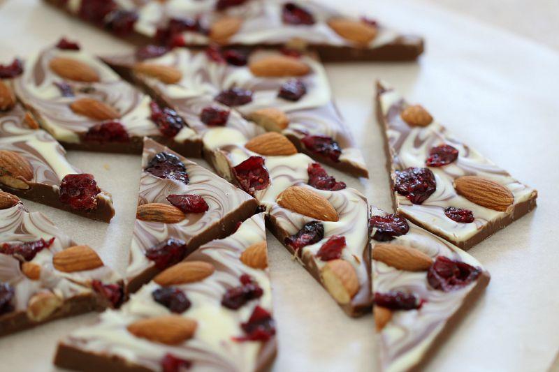Chocolate, Cranberry & Roast Almond Bark 1
