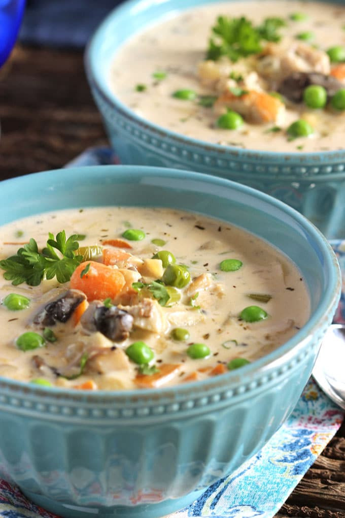 Creamy Chicken Soup with Artichokes and Mushrooms 1