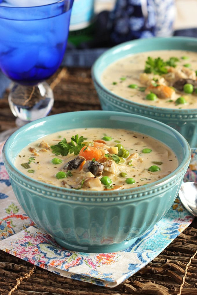 Creamy Chicken Soup with Artichokes and Mushrooms