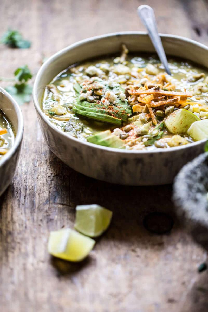 Crockpot Salsa Verde Chicken Pozole