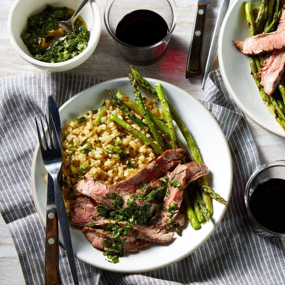Flank Steak with Chimichurri, Asparagus & Cauliflower Rice