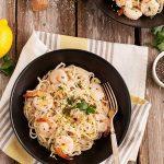 Gluten Free Lemon Pasta with Roasted Shrimp