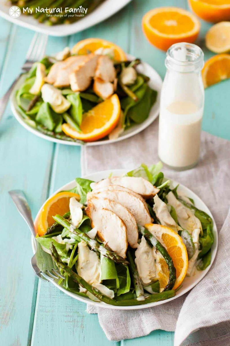 Healthy Artichoke and Asparagus Chicken Salad