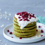 Matcha Pancakes With Coconut Vanilla Cream