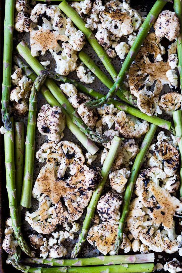 Oven Roasted Cauliflower Steaks with Black Garlic and Asparagus