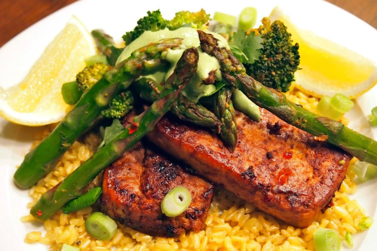 Pan-Fried Tofu Steaks With Coriander Cream and Asparagus