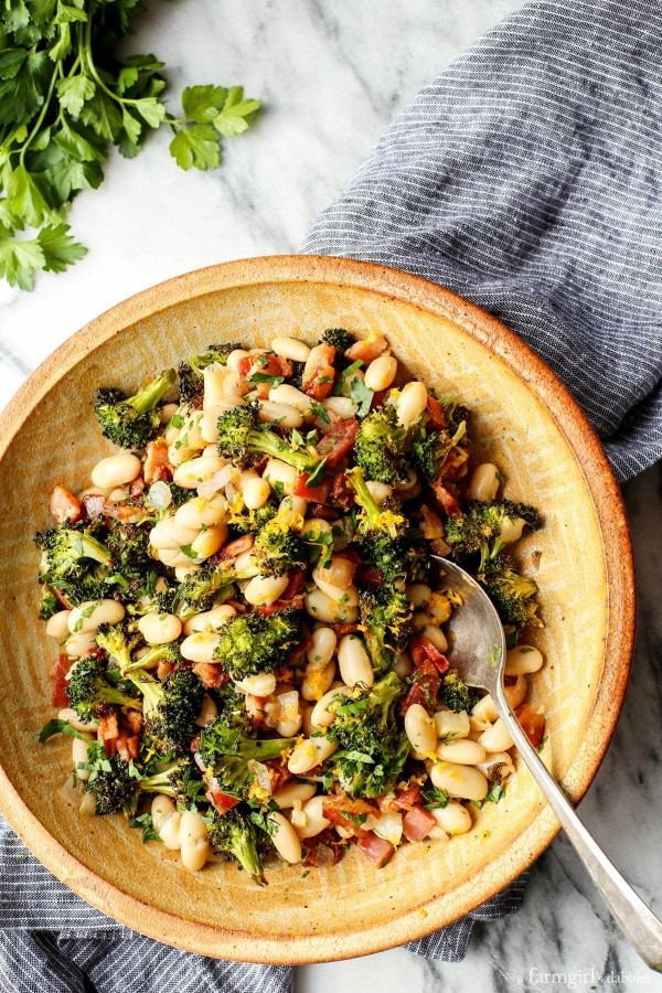 Roasted Broccoli and Lemony White Beans with Bacon 2