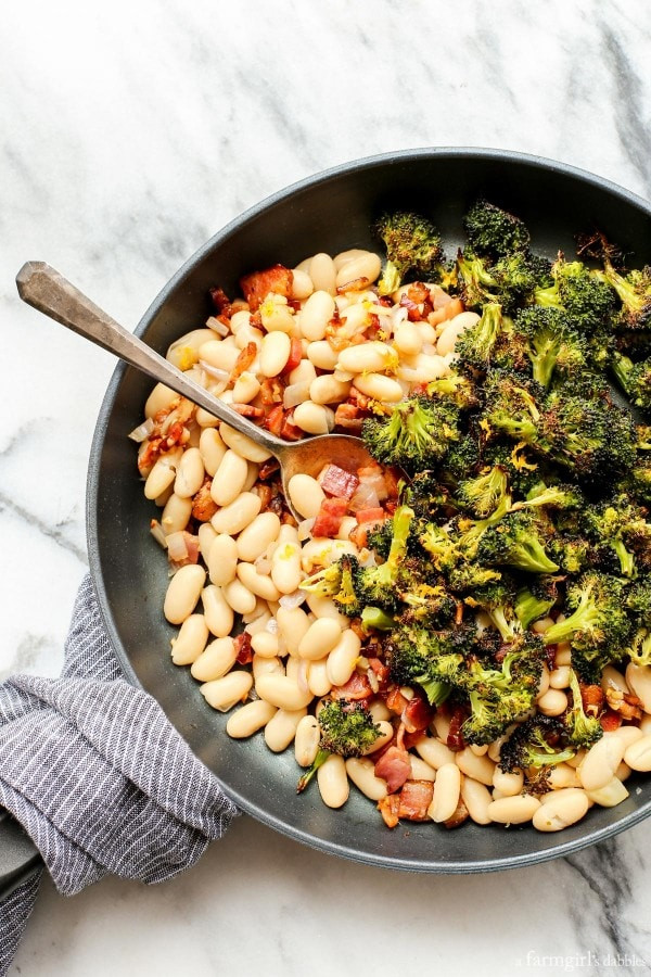 Roasted Broccoli and Lemony White Beans with Bacon 3