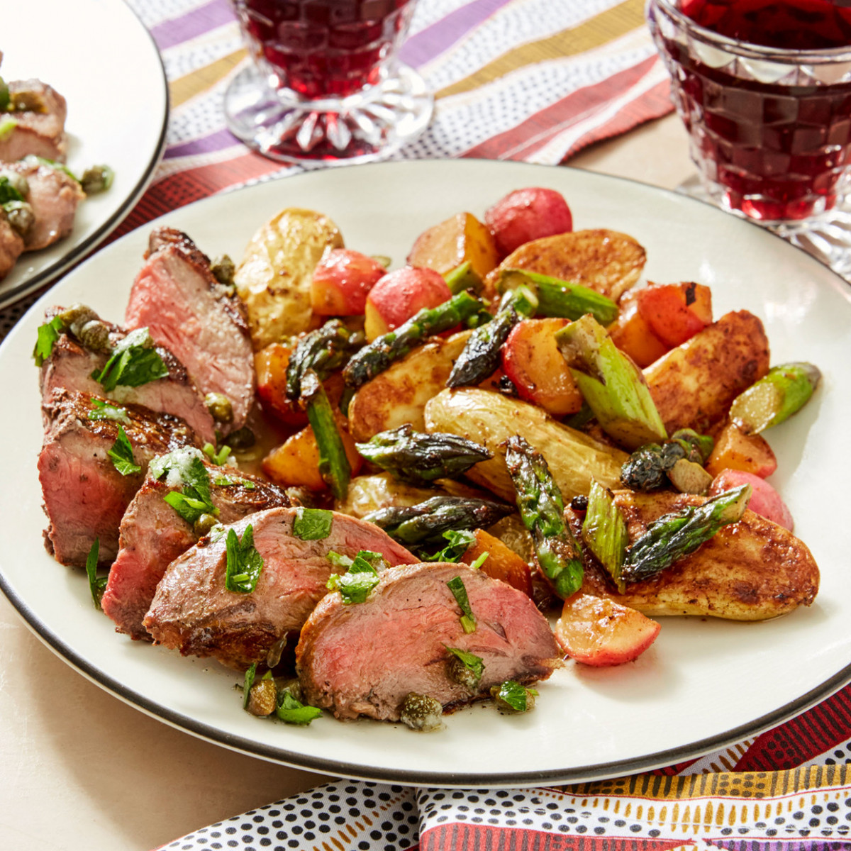 Seared Steaks & Salsa Verde with Fingerling Potatoes, Asparagus and Radishes