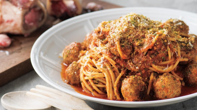 Spaghetti and Bone Marrow Marinara Meatballs