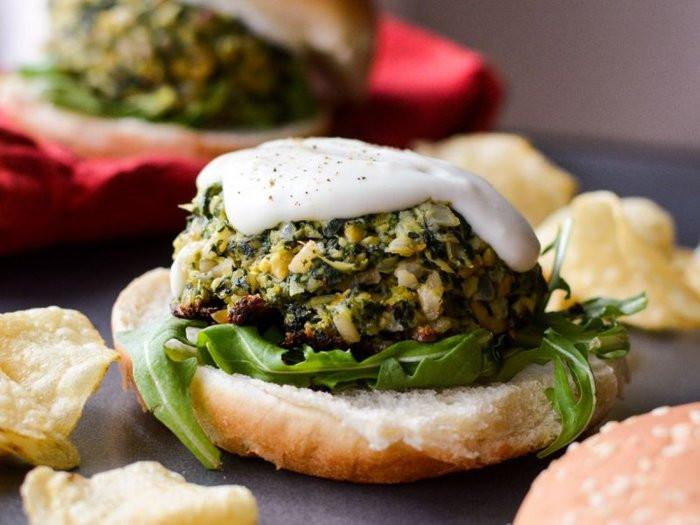 Spinach Artichoke Dip Veggie Burgers