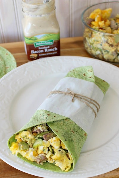 Steak and Asparagus Breakfast Wrap with Bacon Spread