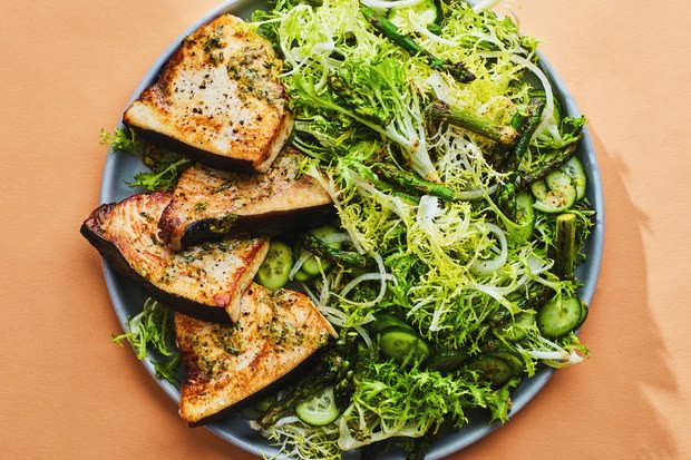 Swordfish Steaks with Asparagus and Frisée Salad