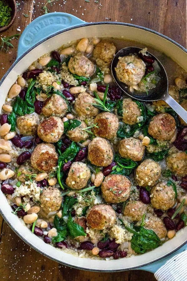 Turkey Meatball Soup with Quinoa