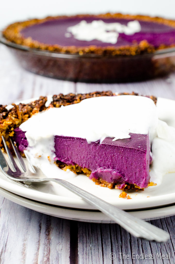 Vegan Purple Sweet Potato Pie with Coconut Almond Crust