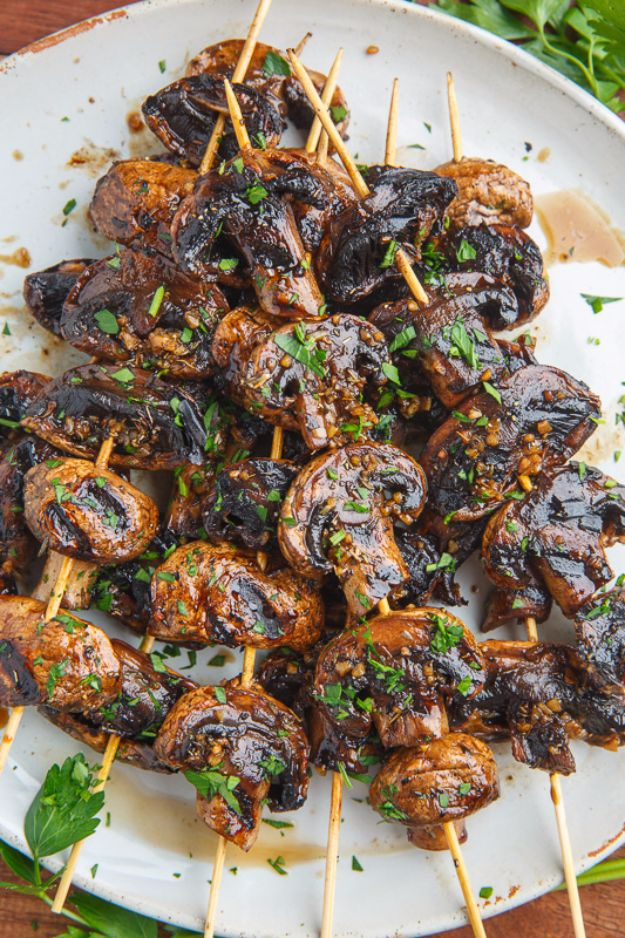 Best Barbecue Recipes - Balsamic Garlic Grilled Mushroom Skewers - Easy BBQ Recipe Ideas for Lunch, Dinner and Quick Party Appetizers - Grilled and Smoked Foods, Chicken, Beef and Meat, Fish and Vegetable Ideas for Grilling - Sauces and Rubs, Seasonings and Favorite Bar BBQ Tips http://diyjoy.com/best-bbq-recipes