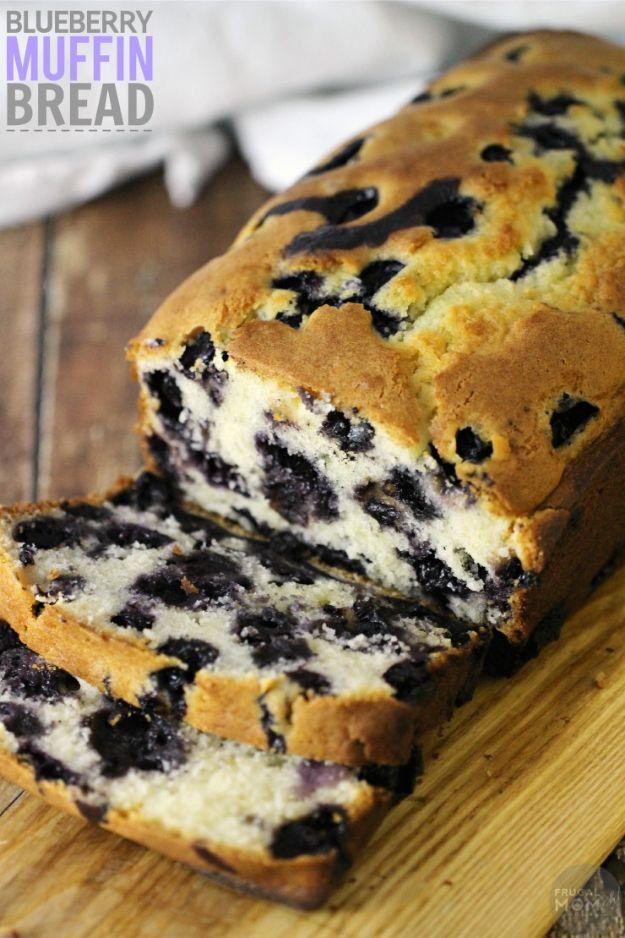 Breakfast Breads - Blueberry Muffin Bread - Homemade Breakfast Bread Recipes - Healthy Fruit, Nut, Banana and Vegetable Recipe Ideas - Best Brunch Dishes #breakfastrecipes #brunch https://diyjoy.com/breakfast-bread-recipes