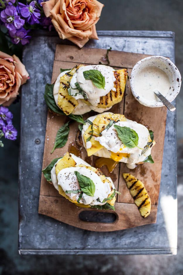 Eggs Benedict Recipes - Grilled Pineapple Caprese Eggs Benedict With Coconut Almond Hollandaise - Best Benedicts and Recipe Ideas for Breakfast, Brunch and Lunch - Easy and Quick Eggs Benedict, Classic, Salmon, Vegetarian and Healthy Variations - How to Make Hollandaise Sauce - Pioneer Woman Favorites - Eggs Benedict Casserole for A Crowd http://diyjoy.com/eggs-benedict-recipes
