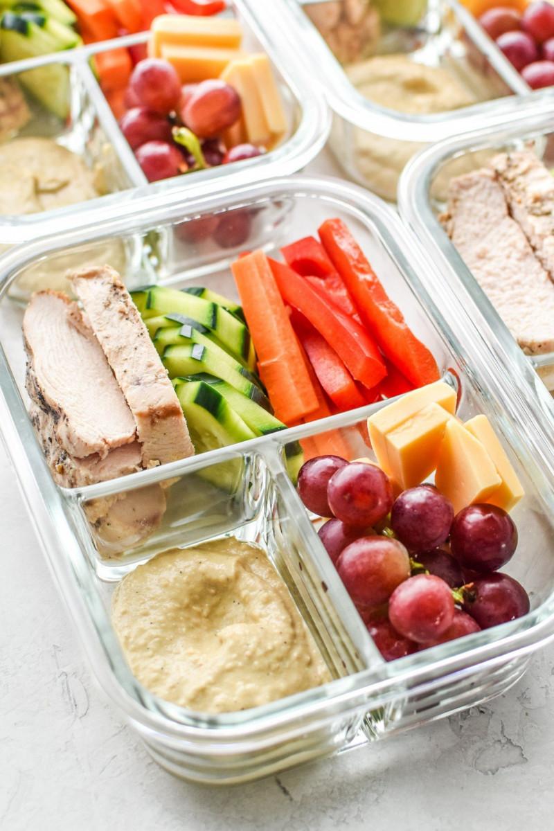 Chicken & Hummus Plate Lunch Meal Prep 1