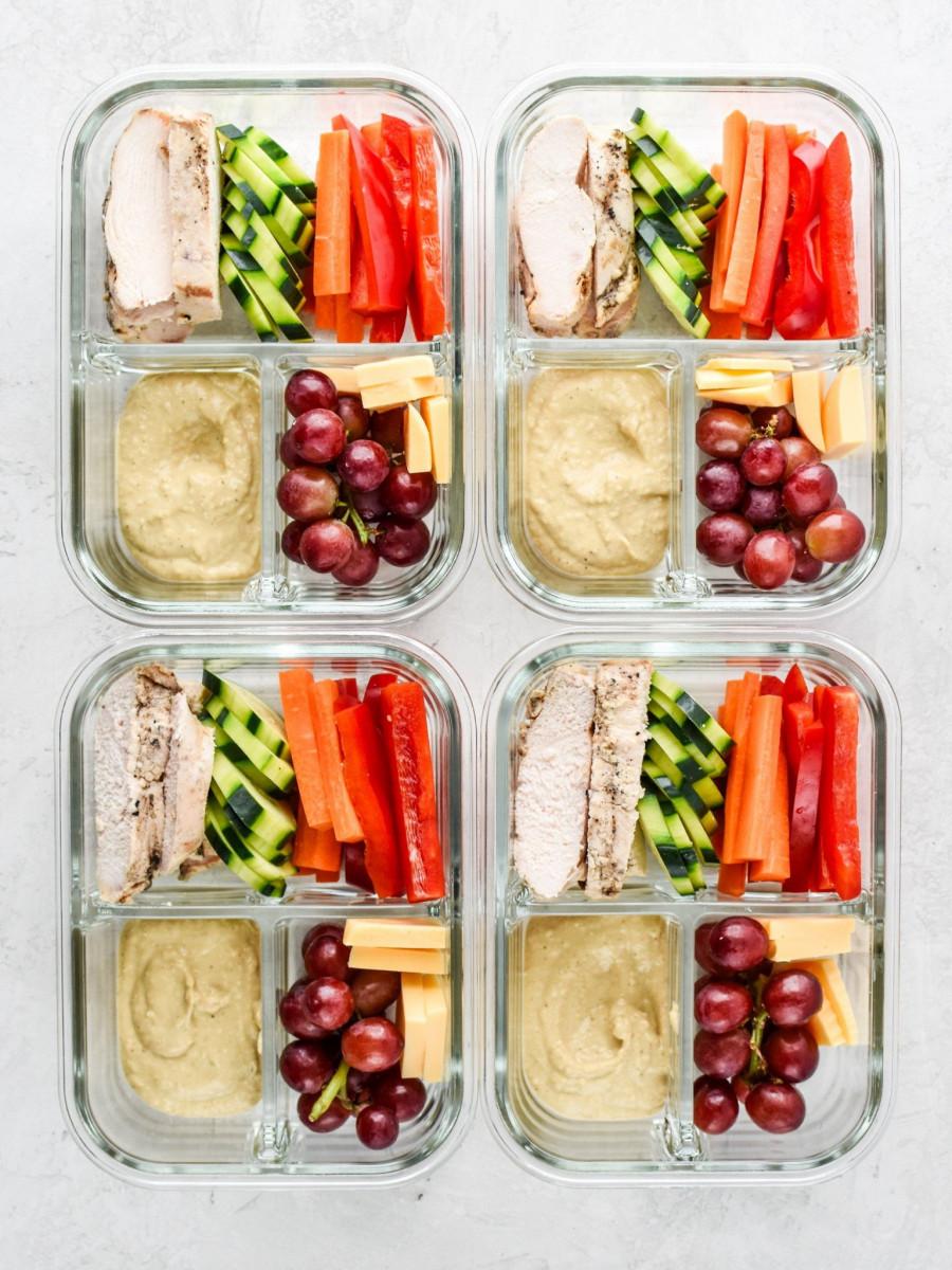 Chicken & Hummus Plate Lunch Meal Prep
