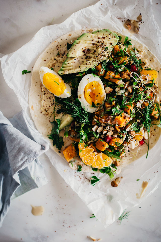 Easy Lunch Wrap with Sweet Potato, Hummus and Egg 1