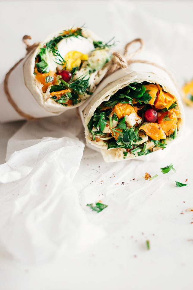 Easy Lunch Wrap with Sweet Potato, Hummus and Egg
