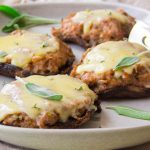 Grilled Cheesy Portabello Caps with Turkey & Sage
