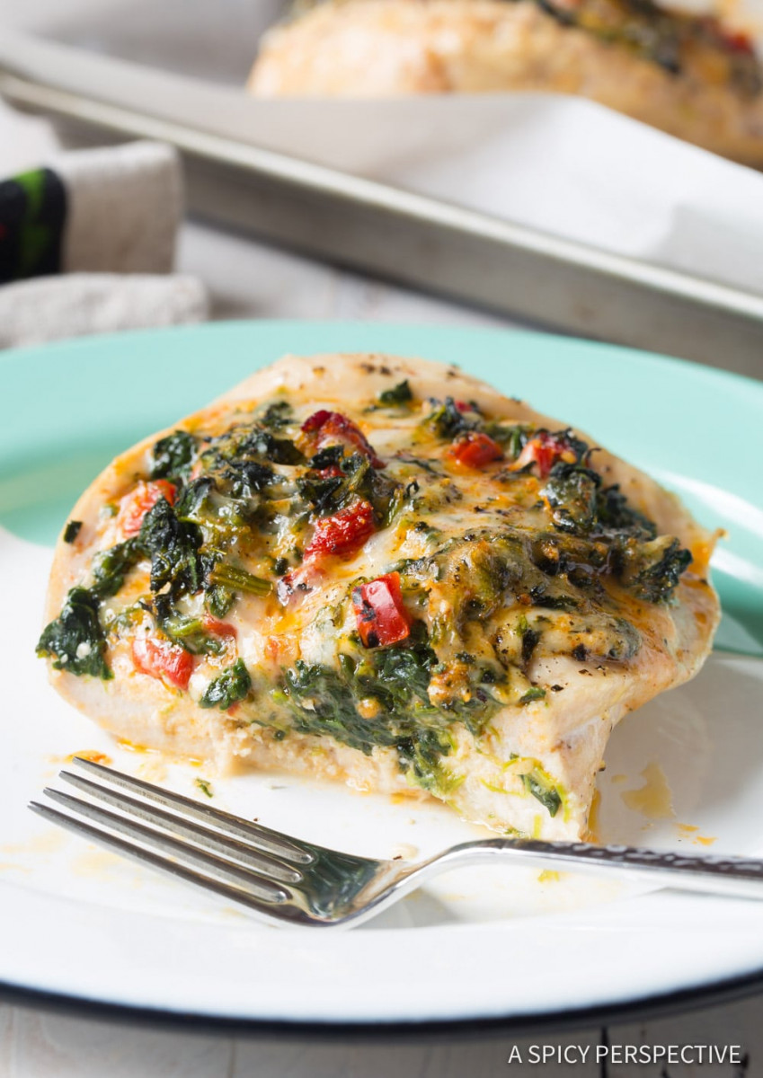Healthy Cheesy Spinach Stuffed Chicken Breasts 1