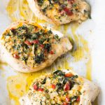 Healthy Cheesy Spinach Stuffed Chicken Breasts