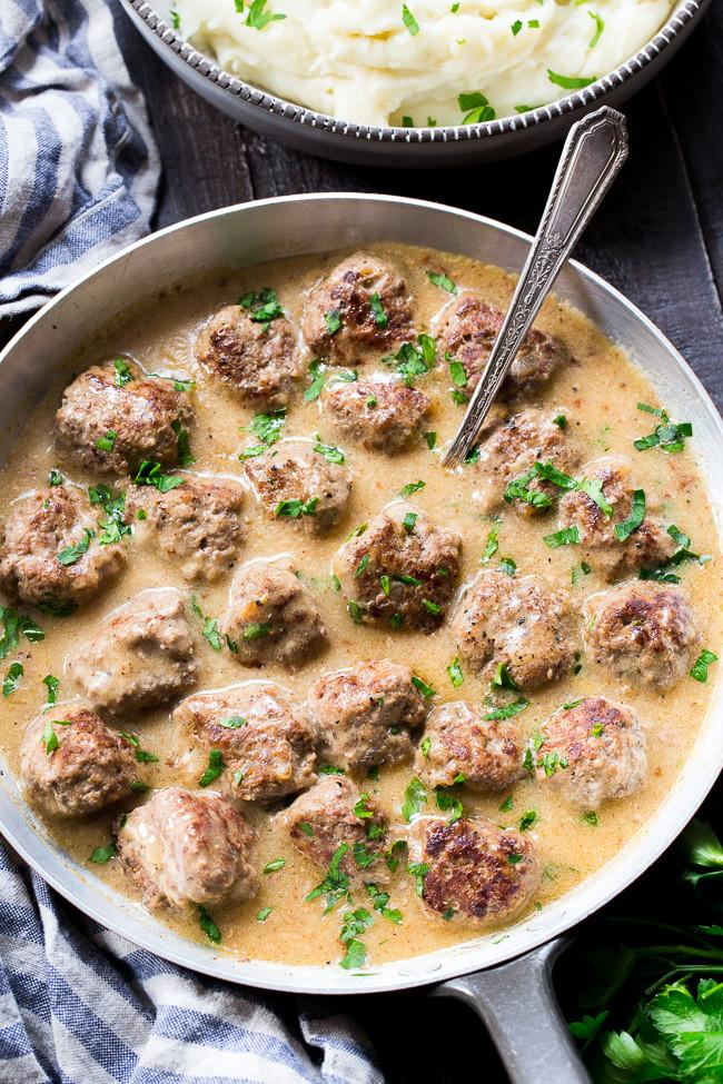 Paleo Swedish Meatballs with Mashed Potatoes 1