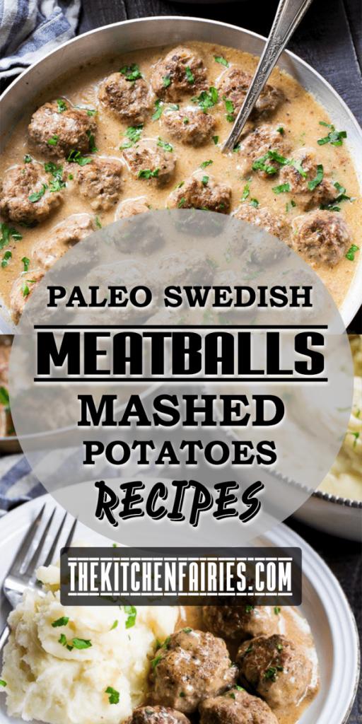 Paleo Swedish Meatballs with Mashed Potatoes